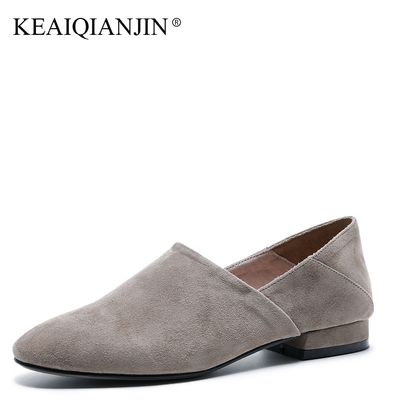 KEAIQIANJIN Woman Genuine Leather Oxfords Sheepskin Plus Size 33 - 42 Spring Autumn Shoes Loafers Black Apricot Loafers 2017 keaiqianjin woman sheepskin flats black red silvery plus size 33 41 spring autumn derby shoes lace up genuine leather shoes