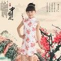 Niños del verano se visten ropa de Los Niños de Alto grado de tela de algodón y lino cheongsam vestido cheongsam Chica