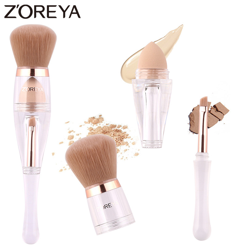 Zoreya Brand Multi-function Makeup Brush Super Soft Synthetic hair Cosmetic Tools Powder Eye Brow Brush And Sponge For Make Up kinepin soft cosmetic puff versatile gourd makeup sponge make up foundation sponge blender face powder puff sponge cosmetic tool