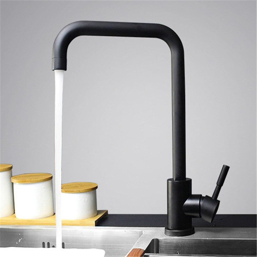 Couleur noir et blanc 304 robinet de cuisine en acier inoxydable mélangeur double évier rotation robinet d'eau de cuisine - 2