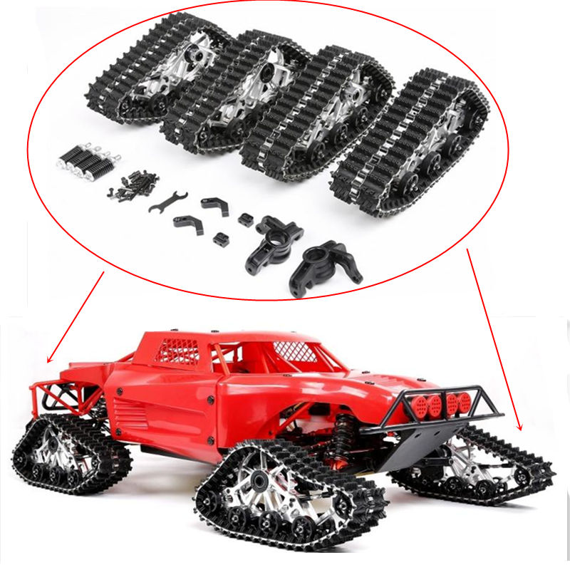 Metal Front Rear Crawler Snow Ground Tires Track Special Wheels Kit For 1/5 Scale Losi 5ive-T Rovan LT RC Car TRUCK Parts