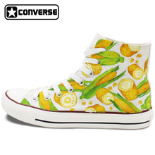 Men Women Converse Chuck Taylor Skateboarding Shoes Hand Painted Design Custom Corn High Top Canvas Sneakers