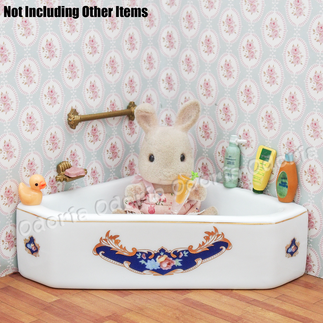 Odoria 1:12 Miniature White Porcelain Bathtub Dollhouse Bathroom ...