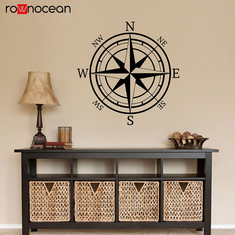 Black,xs Nautical Compass Wall Decal Compass Rose Vinyl Sticker for Living Room Bedroom Nursery Wall Art Home Decor