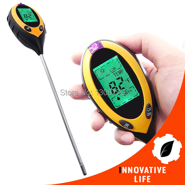 Digital 4in1 Plant Soil PH Moisture Light Soil Meter Sunlight Thermometer Temperature 200mm Probe Lawns Tester  цены