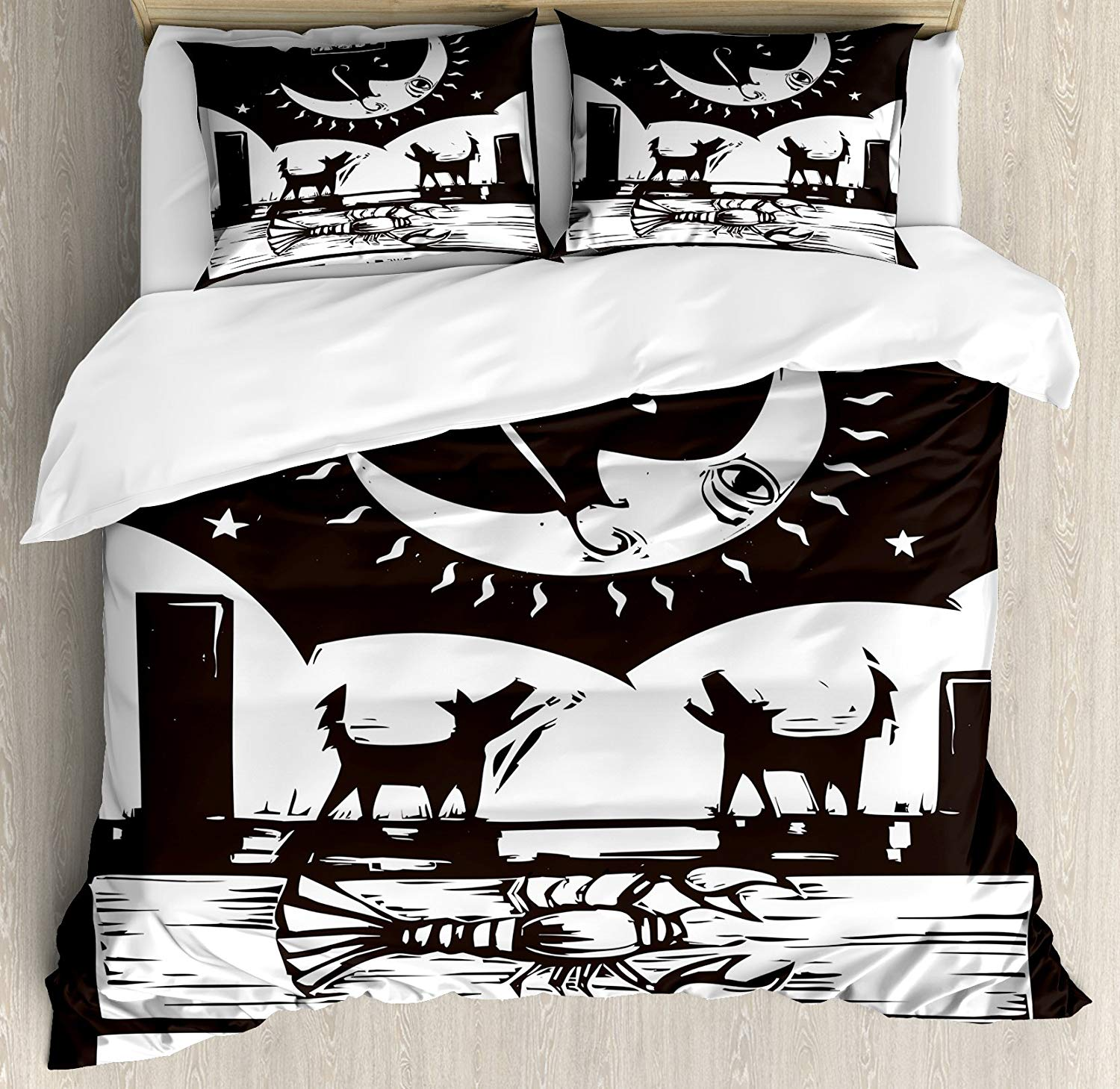 Moon Duvet Cover Set, Brown White Drawing Lobster Wolves Crescent Moon Stars Tarot Card Design, 4 Piece Bedding Set