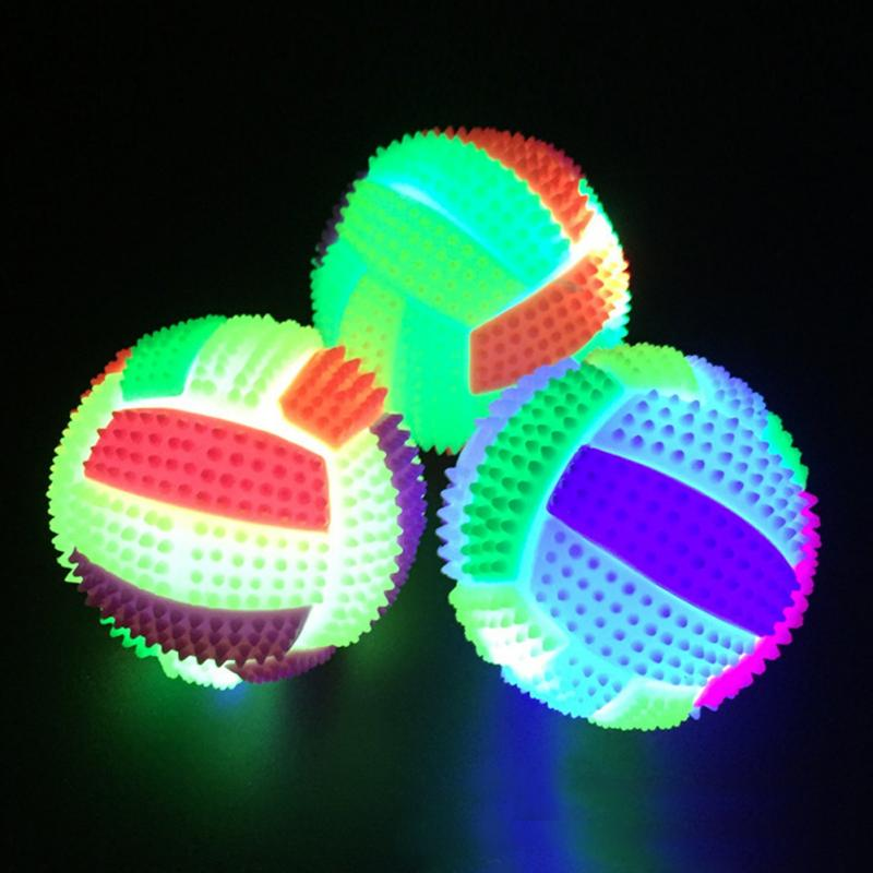 1PC LED Illuminated Volleyball Flashing Light Up Color Changing Bouncing Hedgehog Ball Massage Ball Kids Toy Random Colors #17