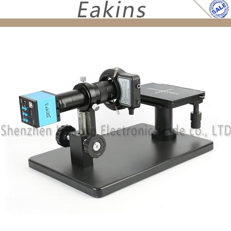 16MP HDMI HD USB Digital Industry Video Microscope Camera + Horizontal Microscope Table Stand + 180X C-MOUNT Lens+144 LED Light