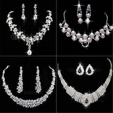 Silver Tone Crystal Fashion Prom Womens Wedding Bridal Jewelry Rhinestone Necklace Earring Sets Gift