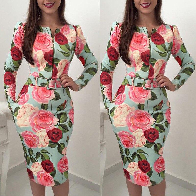 2018 primavera otoño mujer Floral impreso vestidos moda medio/largo manga Casual partido Vintage Boho vestido femenino corto Mini vestido
