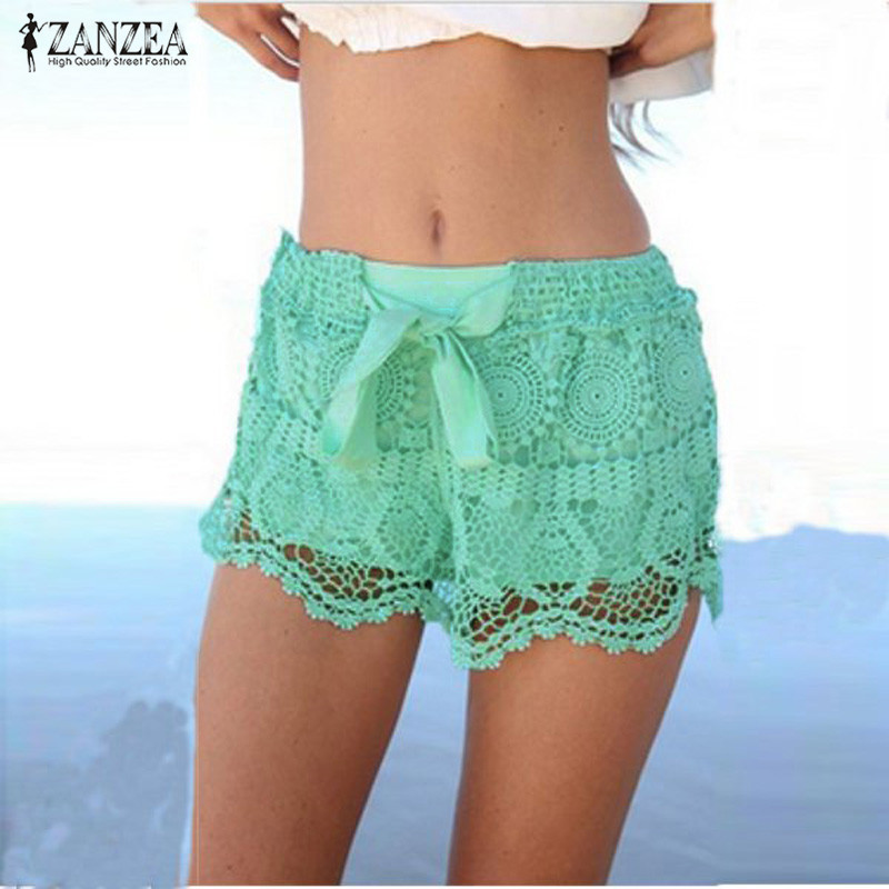 ZANZEA Summer Shorts 2018 Fashion Women Casual Lace Shorts Drawstring Hollow Out Shorts Solid Shorts Pantalon Femme Plus Size