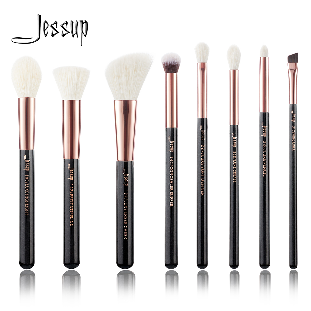 Jessup set Rose Gold /Black Professional Makeup Brushes Set Make up Brush Tools kit Foundation Stippling natural-synthetic hair at fashion 12 pcs makeup brushes set studio holder portable make up cup natural hair synthetic duo fiber makeup brush tools kit