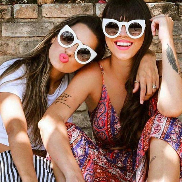 JUSTRUE Novo 2017 Gato Olho Óculos de Sol Da Moda Retro Mulheres óculos de Sol óculos de Design Da Marca Espelho Cateye Tons Da Senhora do Sexo Feminino