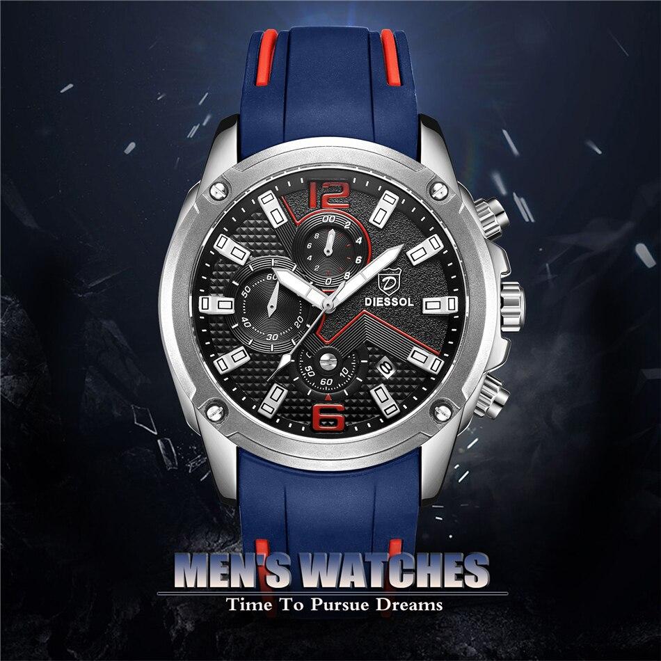 DIESSOL Men's Fashion Sports Quartz Watch Mens Watches Top Brand Luxury Rubber Band Waterproof Business Watch Relogio Masculino 8