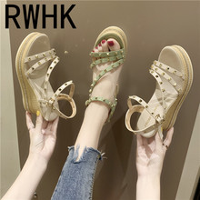 RWHK High-heeled wedge sandals female summer 2019 new thick platform waterproof rivet straps simple wild toe shoes B105