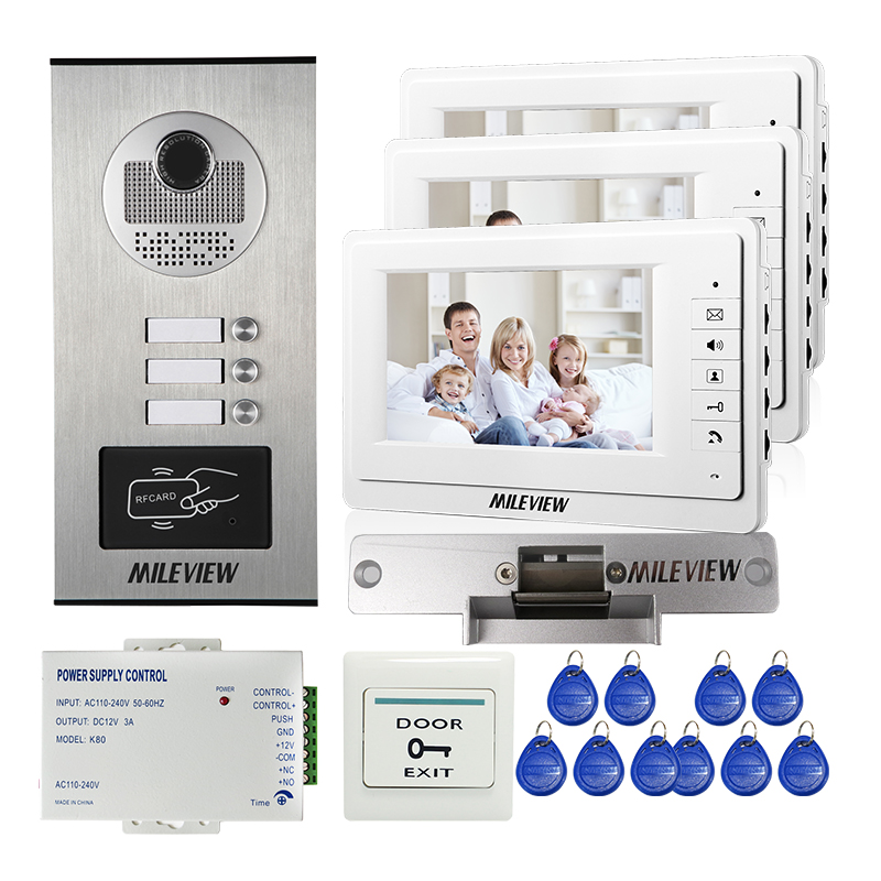 7 Color Video Door Phone Intercom System 3 Monitor + RFID Access Door Camera for 3 Apartment Strike Electric Lock FREE SHIPPING brand new apartment intercom entry system 3 monitor 7 hd color video door phone doorbell intercom system 3 houses free shipping