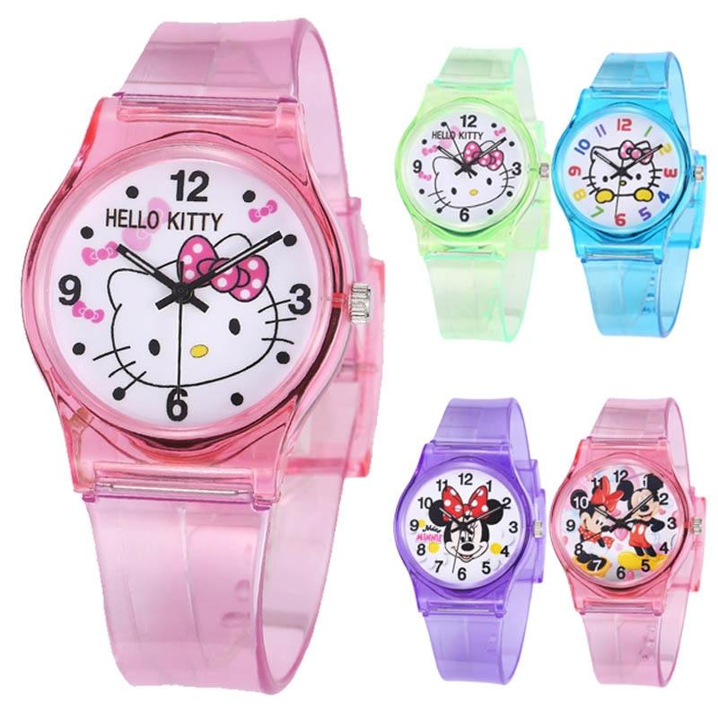Cute Cartoon Children Watch Candy Color Cute Kitten Student Watch Girls Clock Wrist Watches Kids Quartz Wristwatch Girl Toy Gift