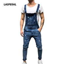 LASPERAL 2018 Fashion Men s Ripped Jeans Jumpsuits Hi Street Distressed Holes  Denim Bib Overalls Man Suspender 6c2af1b30d2f