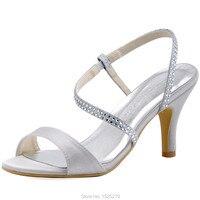 Free Shipping HP1531 Silver Open Toe High Heel Glitter Women S Summer Sandals