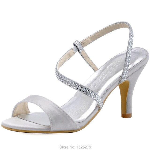 hp1531 de plata sandalias de las mujeres de novia damas de honor