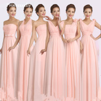 Peachy Pink Bridesmaid Dress Long Chiffon Cheap Winter Wedding Party Prom Dresses Vestido De Festa De