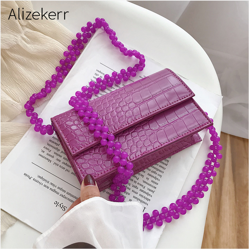 Beads Chain Shoulder Bag Women Crocodile Pattern Beading Mini Stone Pattern Small Square Crossbody Bags Purses Ladies Fashion
