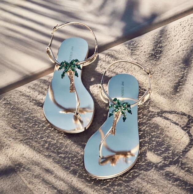 INS Sexy Lady Summer Green Diamonds Palm Tree T Strap Flip-flops Rhinestones Palm Tree Woman Beach T Strap Flip Sandals