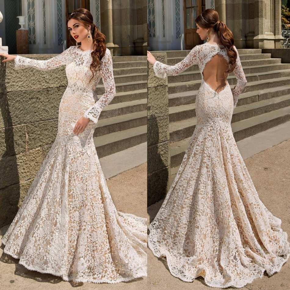 Y Backless Mermaid Wedding Dresses Custom Made Long Sleeves Lace Gowns Robe De Mariee Sirene 2017 Ks05 In From Weddings Events