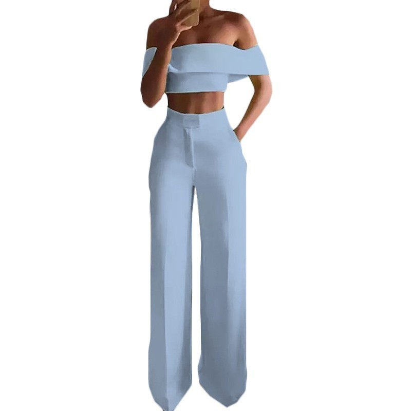 Word Shoulder Mopping Pants 2pc Set Women Solid Off The Shoulder Crop Top+Pants Sets Fashion Sexy Female Pants Summer Suit F636