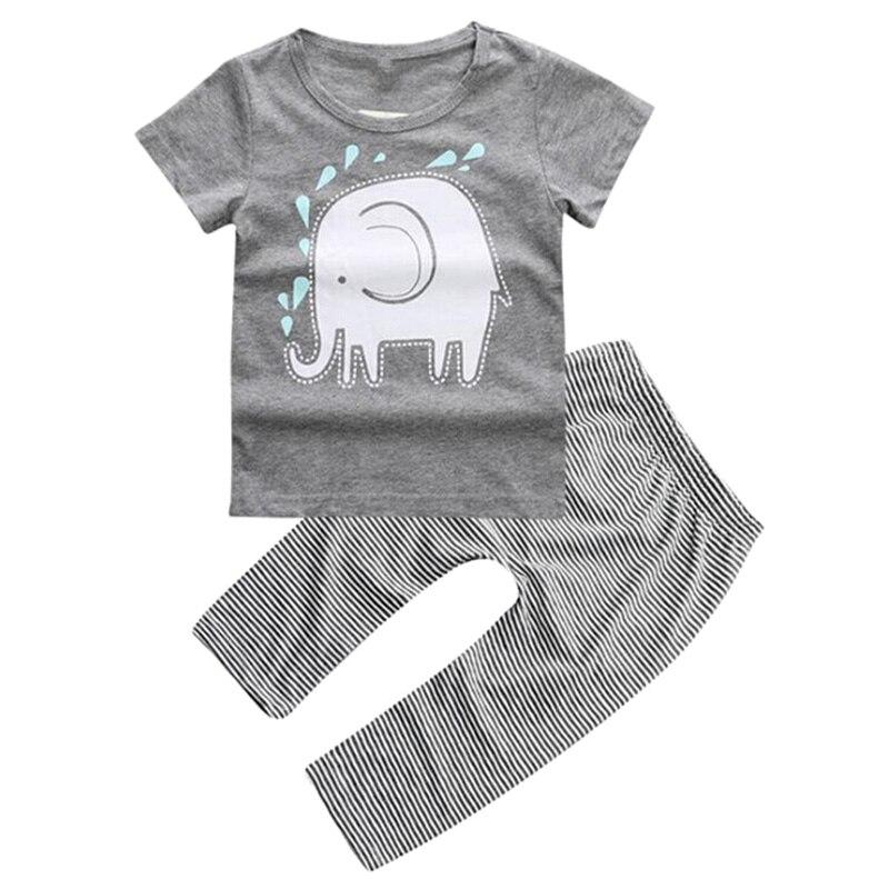 FBIL-Слон одежда для малышей Одежда для мальчиков футболка брюки 2 шт. комплект одежды Цвет: серый