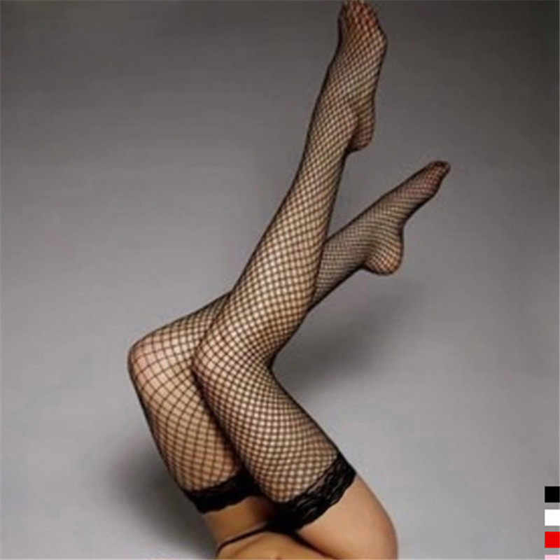 5 Colors Women's Sexy Stockings Lace Top Stay Up Thigh High Stockings Hosiery Hollow Out Mesh Nets Fishnet Stockings Pantyhose