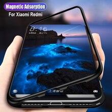 Магнитный адсорбционный чехол для Xiaomi mi 8 lite, черный бампер, закаленное стекло, чехол для телефона, для Xiao mi redmi note 5, 6, 7 pro coque