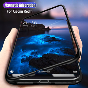 Магнитный адсорбционный чехол для Xiaomi mi 8 lite, черный бампер из закаленного стекла, чехол для телефона Xiaomi redmi note 5 6 7 pro, чехол