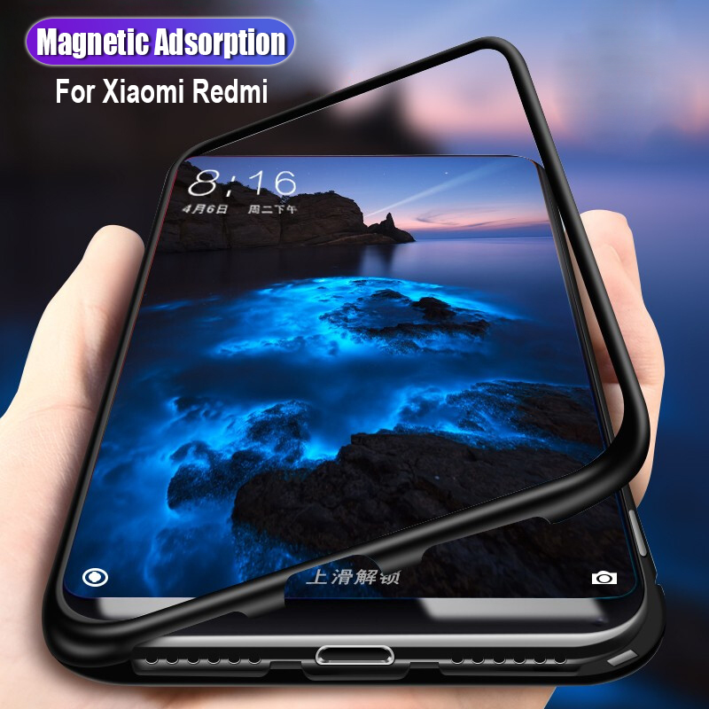 Magnetic Adsorption <font><b>case</b></font> for Xiaomi mi 8 lite bumper black tempered glass cover Phone <font><b>case</b></font> for Xiaomi <font><b>redmi</b></font> <font><b>note</b></font> 5 <font><b>6</b></font> 7 <font><b>pro</b></font> coque image