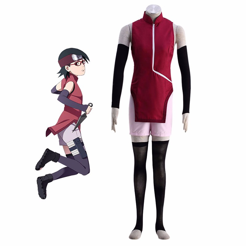 BORUTO NARUTO THE MOVIE Uchiha Sarada Cosplay Costume New Fashion Women Cheongsam Anime Clothes +Sleeve Cover +Sock