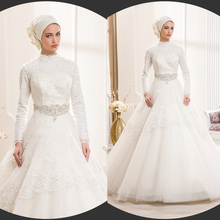 Ivory lace Ball Gown Muslim Wedding Dresses 2015 Long sleeves is Elegant Long wedding Gowns Islamic party Dress New arrivals