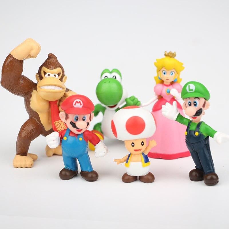 6 pz/lotto Fumetto Asta Figures Mario Modello Piccolo Yoshi Anime Per Bambini brinquedos Peach Bambola Giocattolo Per Bambini Ragazze Presenti Di Natale