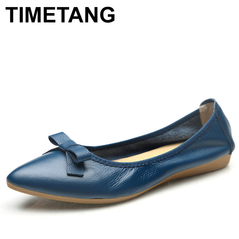 TIMETANG  Casual women shoes genuine leather summer autumn ballet flats shoes pointed toe flats shoes 6 colors solid women loafe