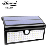 Binval Solar Lights 58 LED 3W Foldable Wireless Wall Light Super Bright Camping Lights with Motion Sensor Detector for Garden