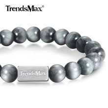 Natural Eagle Eye Stone Beaded Bracelet Mens Womens Stainless Steel Chain Semi precious Gemstone Crystal Link Wristband TBB01103(China)