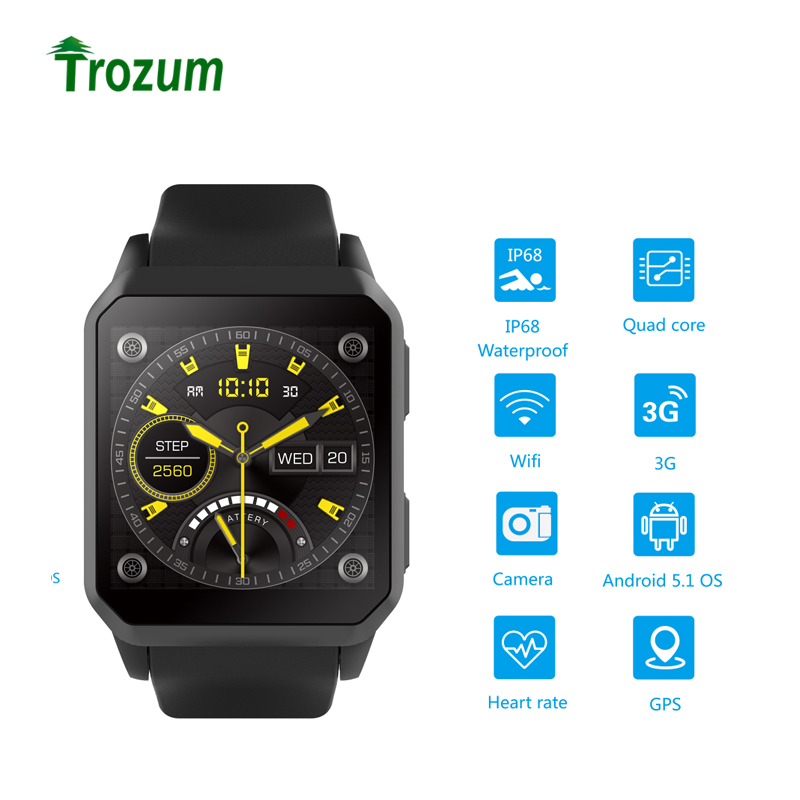 Trozum KW06 Bluetooth Smart Watch men Android 5.1 Wrist Phone MTK6580 512MB+8GB Heart Rate Monitor Smartwatch for Android iOS kinco mtk 6580 512mb 8gb bluetooth camera gps smart watch phone heart rate sim pedometer sos smart watches for ios android