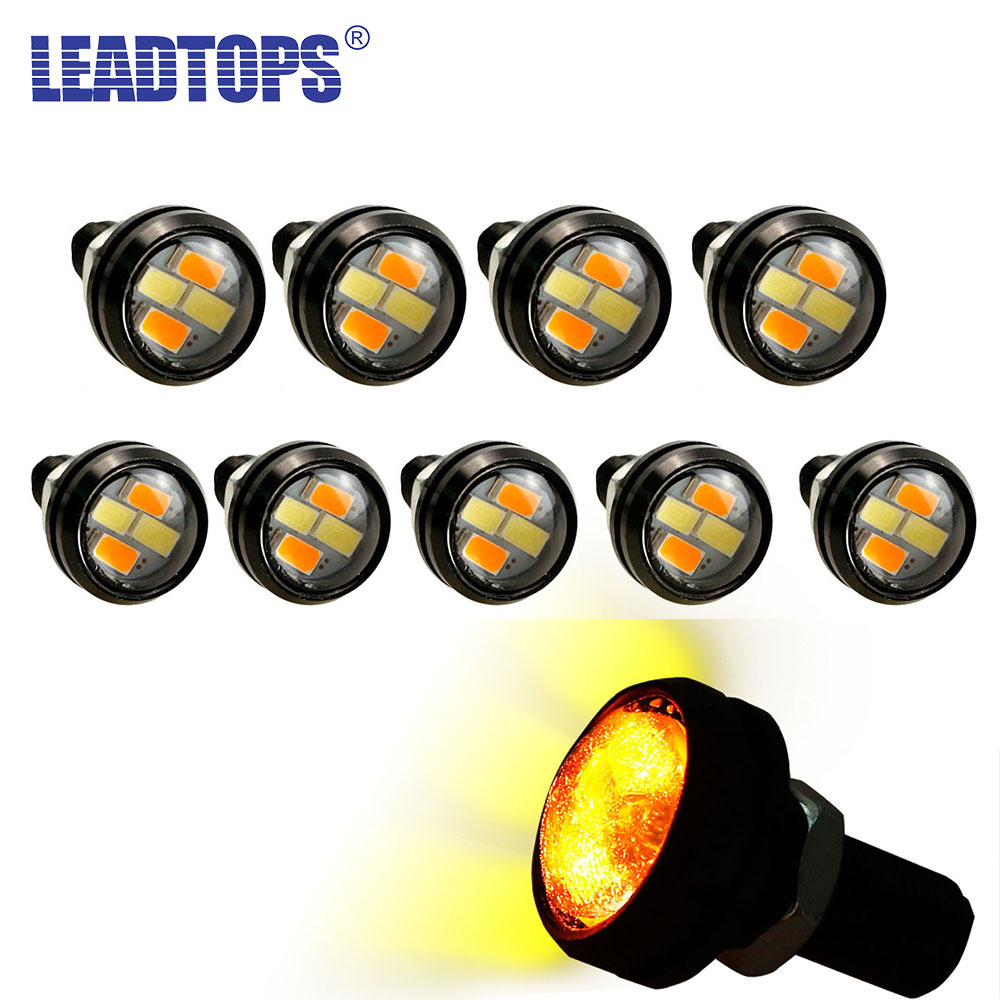 LEADTOPS 10pcs 23mm Car styling LED DRL Eagle Eye Daytime Runing Lights Warning Fog Lights With Turning Signal Light 12V AUTO DB leadtops 10pcs 23mm car styling led drl eagle eye daytime runing lights warning fog lights with turning signal light 12v auto db