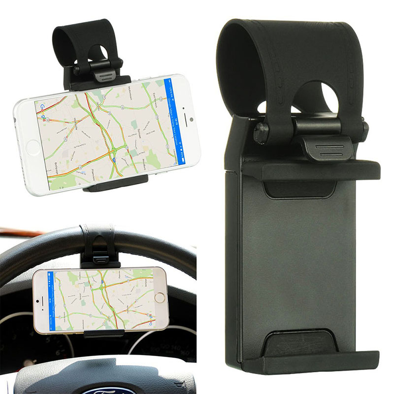 Universal Steering Wheel Stand Car Mount GPS Rubber Band Cell Phone Holder for iPhone6, 6S, 6Plus,Samsung Galaxy Black 5.5 Inch steering wheel phone holder