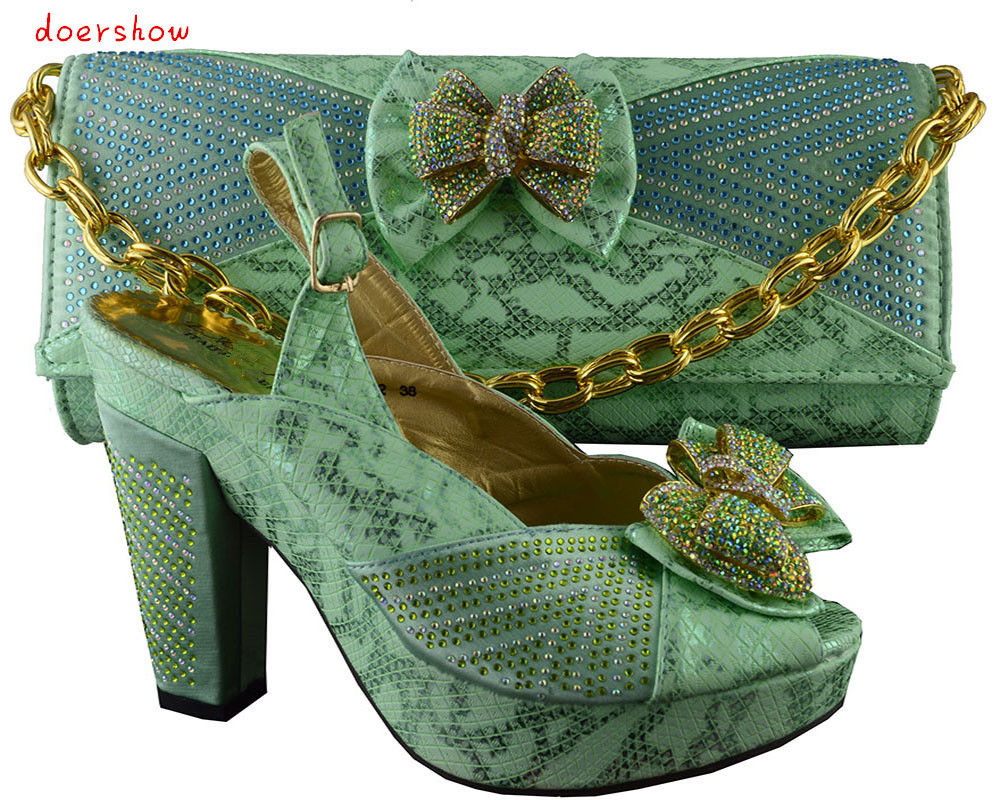 doershow green Italian Shoes With Matching Bags African Women Shoes and Bags Set Free Shipping HJZ1-73 doershow fast shipping fashion african wedding shoes with matching bags african women shoes and bags set free shipping hzl1 29