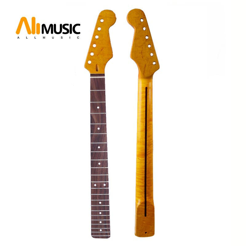 Tiger Flame Maple Neck For Electric Guitar Neck Replacement White Dot Darker Yellow Maple 22 Fret