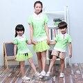 Verano Nuevos Niños de Kindergarten Uniforme Escolar Traje Niños Niñas Impresión Fresca Verde Pura Amistad Niños Traje de Baile Social