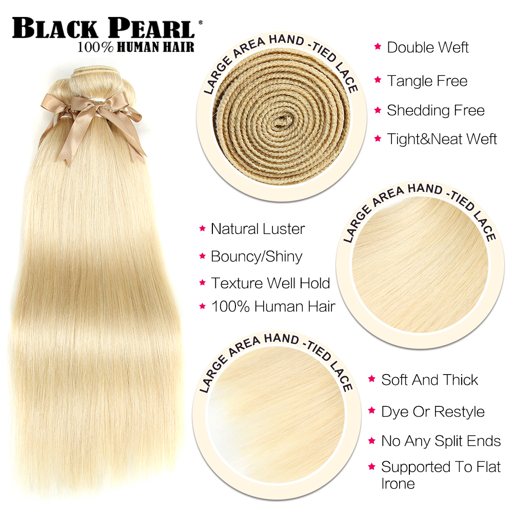 Black Pearl Honey Blonde Bundles With Frontal Closure Brazilian Straight Remy Human Hair Weave 613 Bundles With Frontal