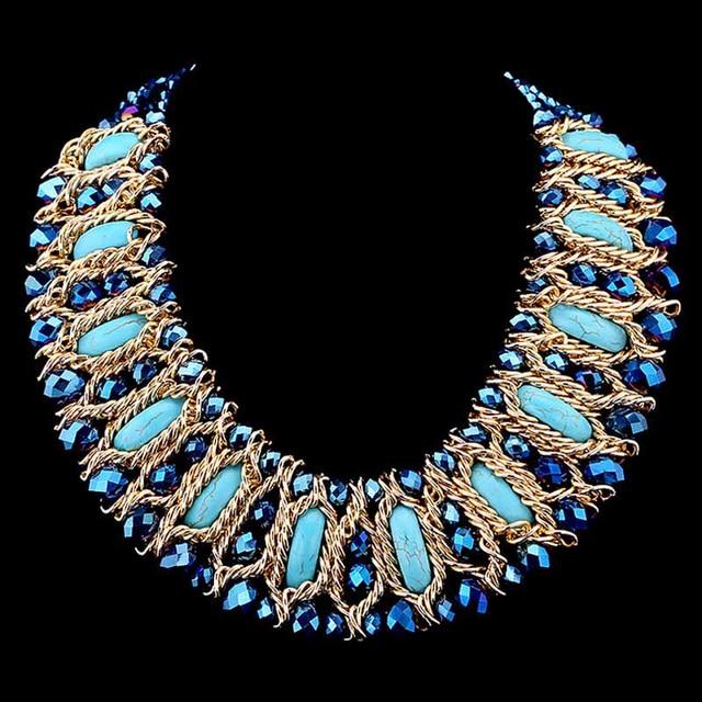 65e8dfadc3cf Estilo clásico de Moda Joyería Plateada Oro de La Turquesa Del Collar Del  Ahogador Para Las