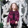 Año nuevo patrón de flores suéter chica caliente de lana ropa de otoño e invierno de cuello redondo de moda suéter niña 2-8 años 5016