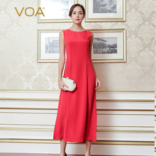 VOA Super Silk Sleeveless Bohemian Long Dress Solid Color Spaghetti Strap Women Summer 2017 Slim O-Neck OL Red A5073